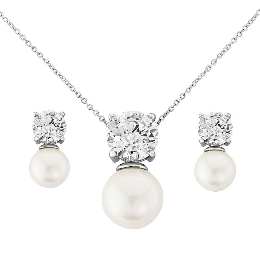 Ella Pearl and Crystal Bridal Necklace Set, Pearl wedding necklace and earrings